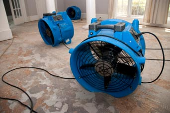 Large Fans used for water damage repair